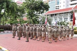 กิจกรรมเคารพธงชาติประจำเดือน ส.ค. 2563 ณ บริเวณหน้าอาคาร 1 ตร.