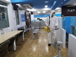 ฝ่ายตรวจสอบพฤติการณ์บุคคลฯ ได้ทำการฉีดพ่นยาฆ่าเชื้อตามนโยบายป้องกันการแพร่ระบาดโรคโควิด 19 ละลอกใหม่